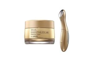 Крем для глаз с муцином улитки и вибромассажер The Saem Snail Essential Ex 24K Gold Eye Cream Set